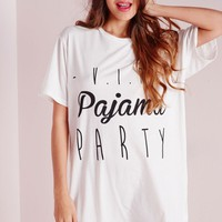 Missguided - VIP Pajama Party Slogan Nightshirt White