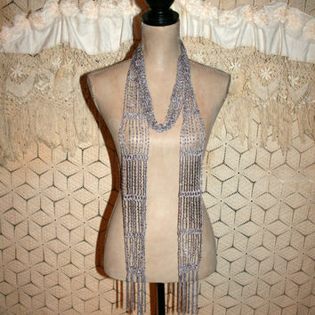 Vintage Scarf Delicate Crochet Silver Beaded Scarf Fringe Lace Waist Sash Hippie Boho Gypsy Romantic Lavender Accessories Women Gift Idea