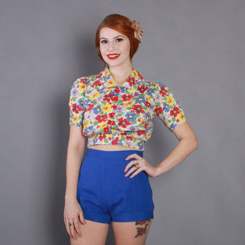 50s Bright BLUE Pin-Up SHORTS / 1950s High Waisted Cuffed Shorts XS