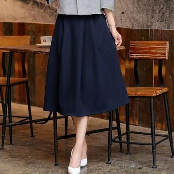 High Quality Skirt About 45% Wool 55% Polyester Womens Summer Skirts Wool Slim Spring Autumn Vintage Fashion Pleated Solid Saia
