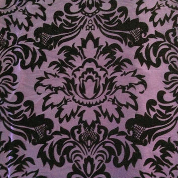 Decorative-Accent Body Pillow Cover - Approx 20 X 54 inch Black Flocked Violet Purple Damask Taffeta-Free Domestic Shipping