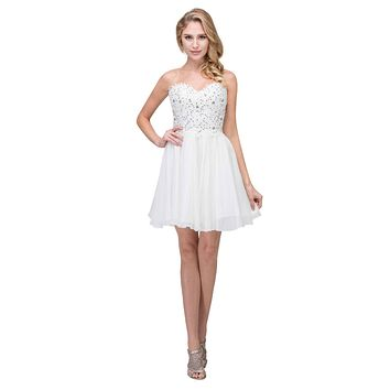 Chiffon A Line Short Homecoming Dress Off White Strapless