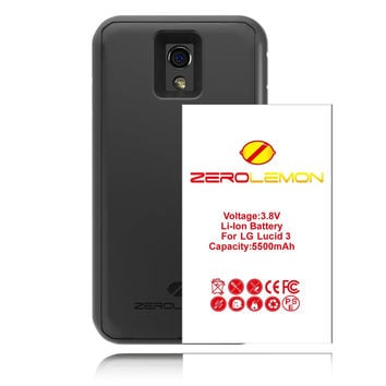 [180 Days Warranty] ZeroLemon® LG Lucid 3 5500mAh Extended Battery + Free Black Extended TPU Full Edge Protection Case , Includes Free High Quality Screen Protector - World's Highest LG Lucid 3 Capacity Battery with World's Only TPU Back Cover Combo Case.