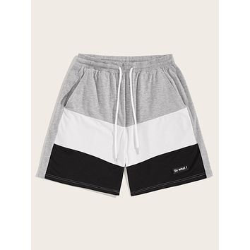 Men Patched Detail Cut-and-sew Sweat Shorts