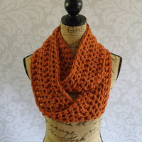 Ready To Ship Infinity Scarf Crochet Burnt Pumpkin Orange Women's Accessories Eternity Fall Winter
