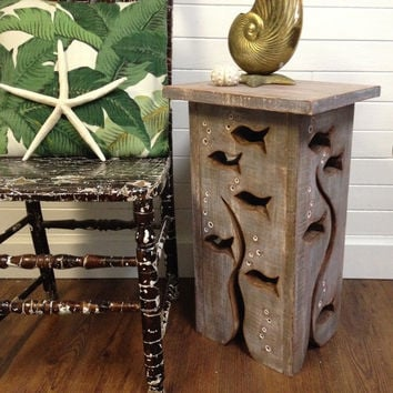 Fish Art Side Table Driftwood Colouring Night Stand Coffee Table by CastawaysHall - Ready to Ship