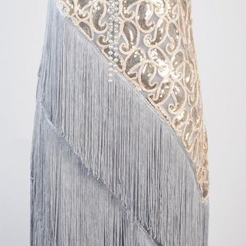 1920's Flapper Party Clubwear Great Gatsby Sequin & Tassel Dress RR 3226
