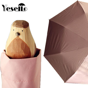 Yesello Hand-Carved Wooden Cute Animal Windproof Rain and Parasol Folding Women Umbrella