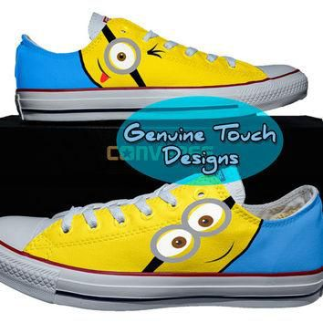 Minions shoes Custom canvas Shoes, Converse All stars, Minions Hand Painted Shoes snea