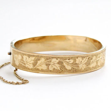 Antique 10k Yellow Gold Filled Hinged Ivy Leaf Vine Bangle Bracelet - Vintage Victorian Late 1800s Ornate Eternity Leaves Motif Jewelry