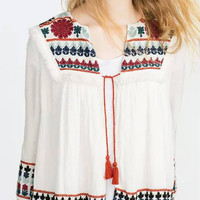 White Blouse Top with Designs