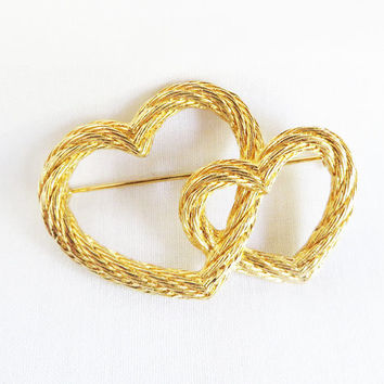 Christian Dior Double Heart Twisted Rope Gold Tone Brooch, Vintage Sweetheart Pin