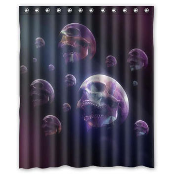 "Purple dream skulls custom Shower Curtain Bathroom decor fashion design Free Shipping 36x72"" 48x72"" 60x72"" 66x72"""