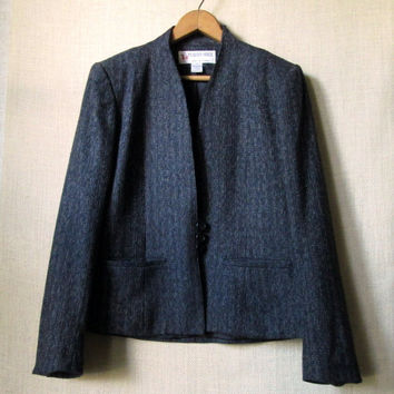 Vintage 70s Pinstripe Blazer, Short Tweed Jacket, Office Attire, Charcoal Grey & Black, High Neckline, Wool Banker Stripe, Womens Size 7/8