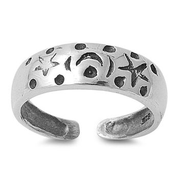 Sterling Silver Moon & Stars 5MM  Toe Ring/ Knuckle/ Mid-Finger