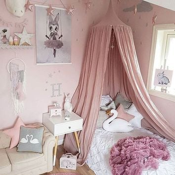 Summer Fashion Nordic Style Dome Mosquito Nets Curtain For Bedding Set Princess Bed Valance Bed Netting Kids Room (not Include S