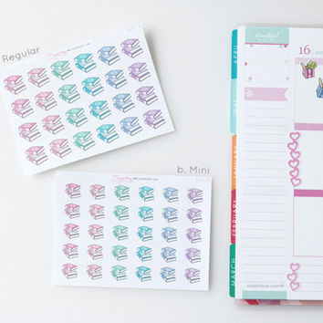 Book stack, planner stickers,reading, book club, homework, return library book, homework, book list, study, school, BOK1