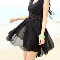 Black Sleeveless V-Neck Chiffon Dress