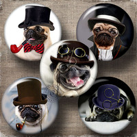 """Steampunk Pug Dog - 2.625"""" and 1.850"""" circles - Printable Digital Collage Sheets CG-785M for Pocket Mirrors, Buttons, Scrapbooking, Crafts"""