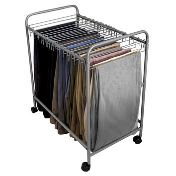 Evelots Pant/Jeans Trolley-Rolls Easily In/Out Closet-Sturdy Metal-18 Hangers