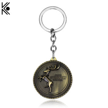 Game of Thrones House Key Chains Keyrings Song Of Ice And Fire keyring Deer logo High Quality Keychain Deer Accessories