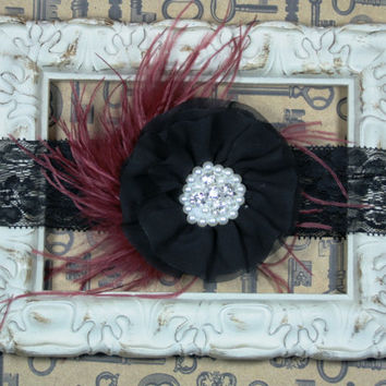 VIntage Inspired Headband, Vintage Style Feather Headband, Black and Burgundy Headband, 1920s Headband, Photo Prop , Flower Girl Headband