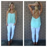 Mint & White Daisy Strap Low Back Tank