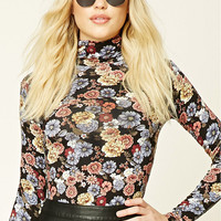 Floral Print Turtleneck Top