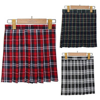 Girls Lady Plaid Pleated Mini Skirt Uniform Skirt Cosplay Style S-XL New