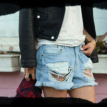 JAGGED women denim jeans boyfriend Levi'S oversized cutoff shorts custom made to order all sizes