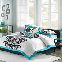 Full / Queen Size Modern Teal Damask 3 Piece Comforter Set