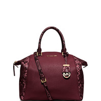 Riley Medium Satchel Bag w/Snake Print, Merlot - MICHAEL Michael Kors