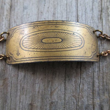 Brass Cuff Bracelet Industrial and Mechanical by daniellerosebean