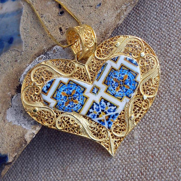 Portugal Filigree Handmade Heart Pendant Necklace with Azulejo Tiles - Sterling Silver in 24k Gold Bath - made in Porto -