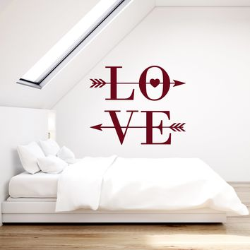 Vinyl Wall Decal Love Word Arrows Heart Romantic Bedroom Room Art Stickers Mural (ig5548)