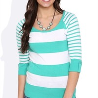 Striped Sweater with Elbow-Length Roll Tab Sleeves and Scoop Neck