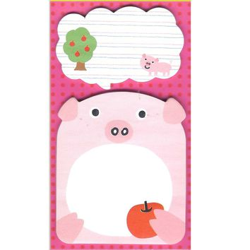 Pig Piglet and Speech Bubble Shaped Animal Themed Memo Sticky Post-it Note Pad