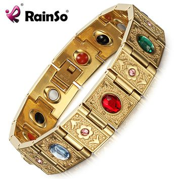 Rainso Stainless Steel Bio Energy Bracelet Fashion Health FIR Bangle Magnetic Jewelry Bracelets For lady