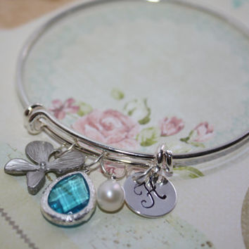 Personalized Bangle,Orchid Bangle Bracelet,Silver Bangle,initial Jewelry,Bracelet,Pearl Bracelet, Nature,Sister, Mother Daughter Jewelry