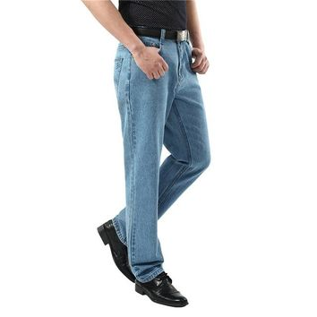 Men Washed Denim Jeans Casual Straight Denim Overalls for Men Brand Male Classic Jeans Pants Men Business Trousers