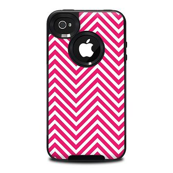 The White & Pink Sharp Chevron Pattern Skin for the iPhone 4-4s OtterBox Commuter Case