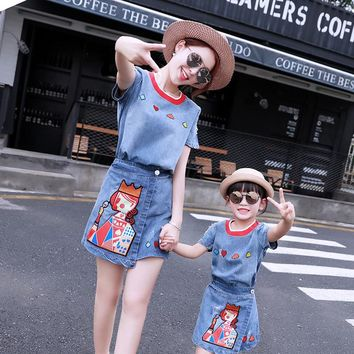 Two Piece Suit Mother Daughter Dress Clothes Summer 2017 New Mother Girl Cowboy Dress Suit Family Matching Outfits Mother Kids