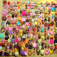 100 PCS Assorted Cabochon Cute Mix Sweets Cabochon Deco Den Kit Decoden Accessories flat back Mixed cabochons supply (Food Serious) AK.SW