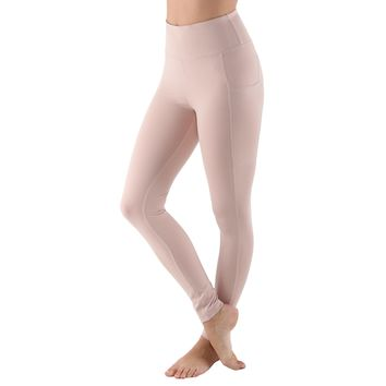 Women's High Waist Active Long Yoga Compression Leggings - Peach Pink