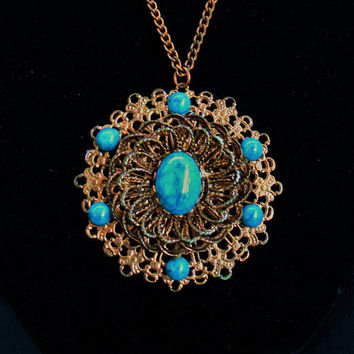 Filigree Medallion Necklace With Faux Turquoise Cabochon In Brass Tone, Boho Jewelry, Large Pendant