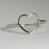 sterling silver heart ring, silver heart ring, open heart ring, heart ring, silver open heart ring, love, sisters, friends