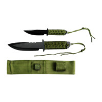 "Survival Knife Set 10.5"", 7.5"" Overall Green Cord Wrap Handle w/Sheath"