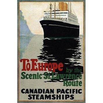 CRUISE TO EUROPE vintage travel poster CANADA 1925 24X36 new hot rare