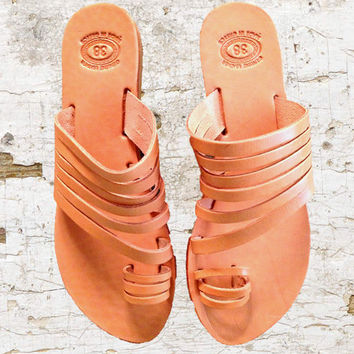 Greek Tan leather sandals, women sandals, nude sandals, authentic leather handmade sandals, women shoes, stylish toe sandals