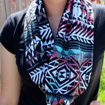 READY TO SHIP Mint, Coral, Rust and Black aztec knit Infinity Scarf from GreenStyle